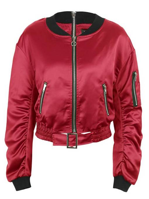 Zipper Up Stand Collar Pleated Women's Jacket