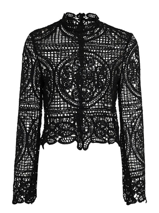 Lace Sheer Bell Sleeve Hollow Out Women's Blouse
