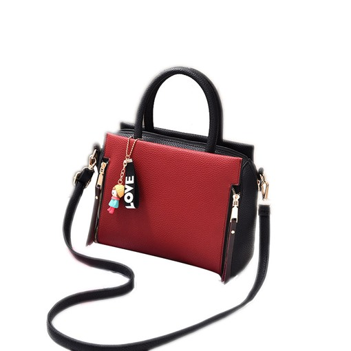 Fashion Contrast Color Zipper Women Tote Bag