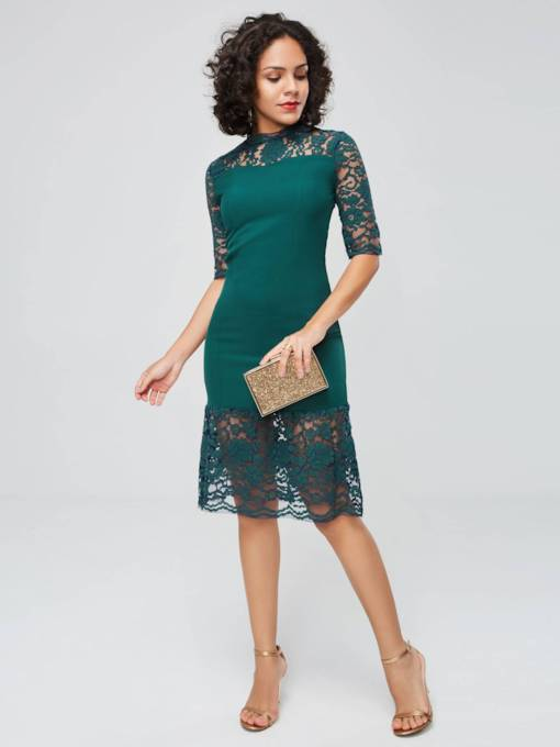 Half Sleeve Stand Collar Women's Lace Dress