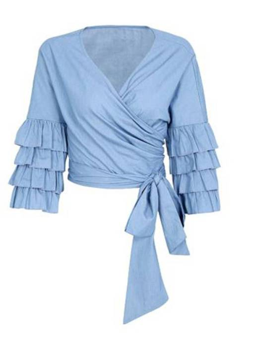 Puff Sleeve Tie Wasit Deep V-Neck Women's Blouse