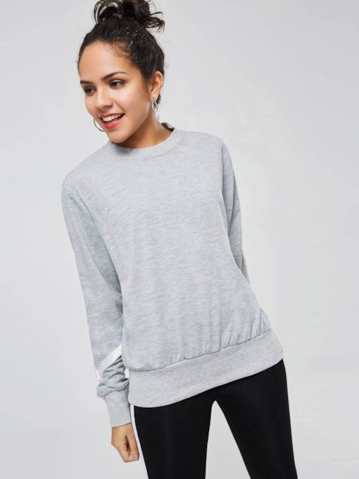 Crisscross Back Lace-Up Color Block Women's Sweatshirt
