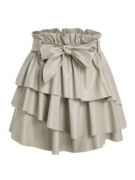 Pleated Ruffled Elastic Waist Bowknot Women's Skirt