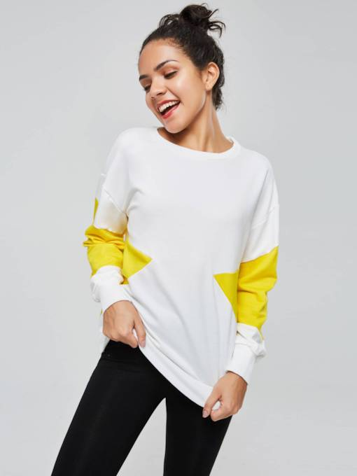 Color Block Long Sleeve Women's Sweatshirt