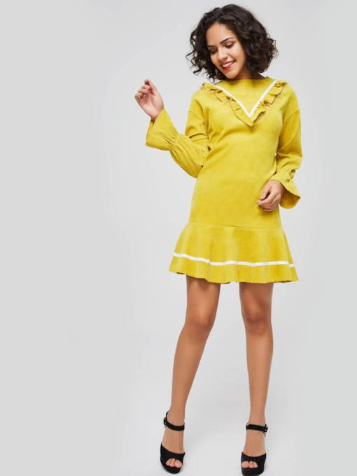Yellow Flare Sleeve Ruffle Women's Day Dress