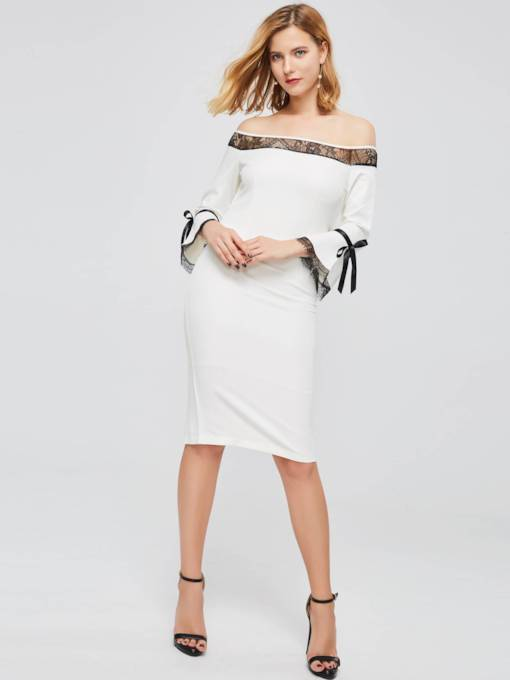 Off The Shoulder Flare Sleeve Bodycon Dress