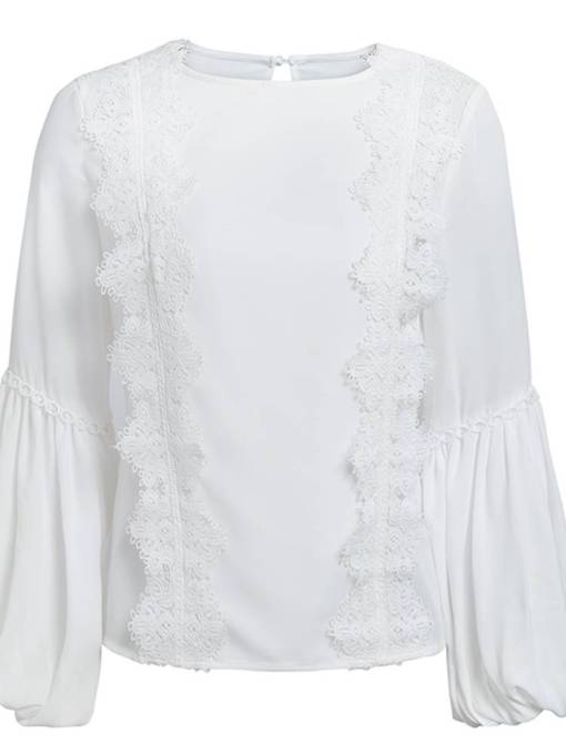 Elegant Frilled Lantern Sleeve Scoop Neck Women's Blouse