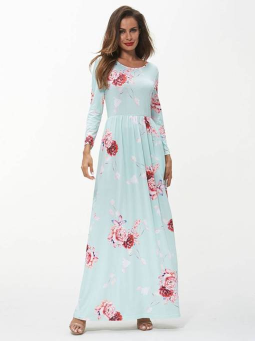 Round Neck Prints Long Sleeve Maxi Dress