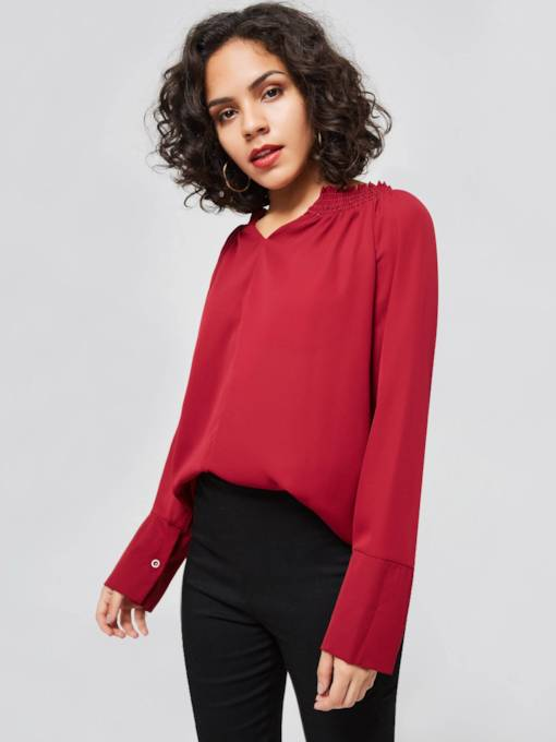 Plain Ruched V-Neck Solid Color Women's Blouse
