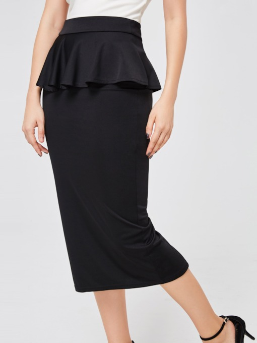 Plain Ruffled Patchwork Women's Bodycon Skirt