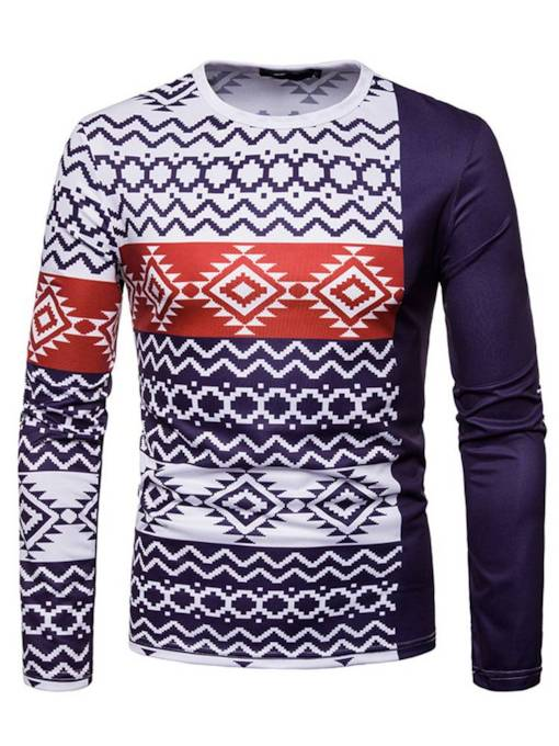 Scoop Neckline Geometric Print Patchwork Slim Men's T-Shirt