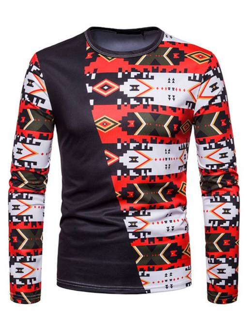 Patchwork Geometic Pattern Slim Men's T-Shirt