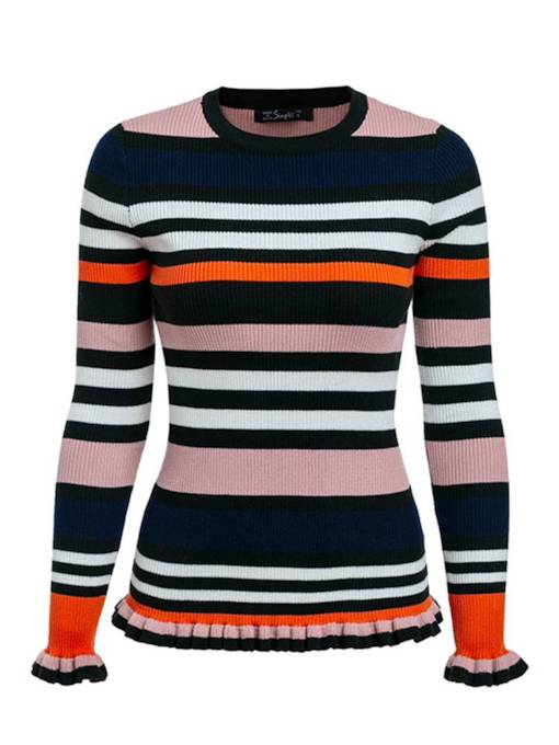 Frilled Color Block Stripe Women's Mock Neck Sweater