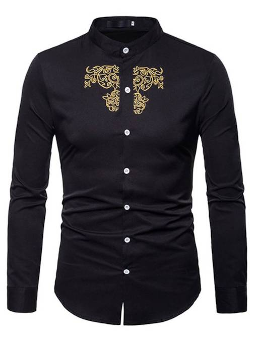 Stand Collar Embroidery Plain Men's Shirt