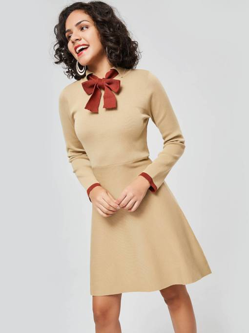Khaki Long Sleeve A-Line Day Dress