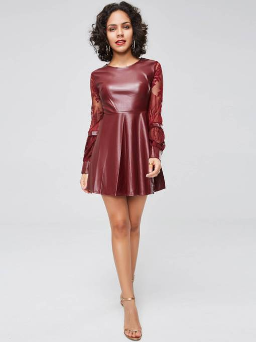 Lantern Sleeve Leather Lace Day Dress