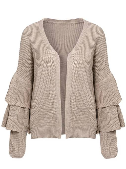 Open Front Solid Color Ruffle Sleeve Women's Sweater Coat