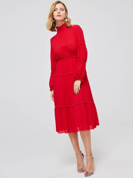 Long Sleeve Stand Collar Ruffle Maxi Dress
