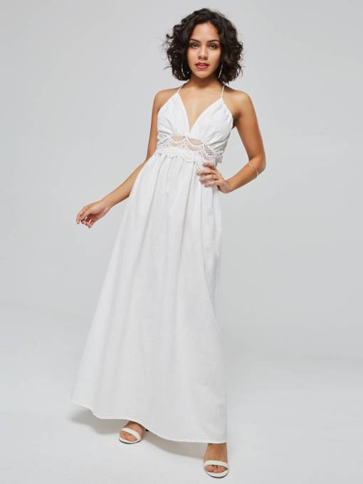 White Sleeveless High Waist Elegant Maxi Dress
