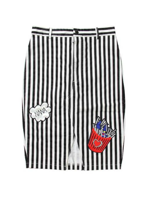 Letter Print Stripe Knee Length Women's Mini Skirt