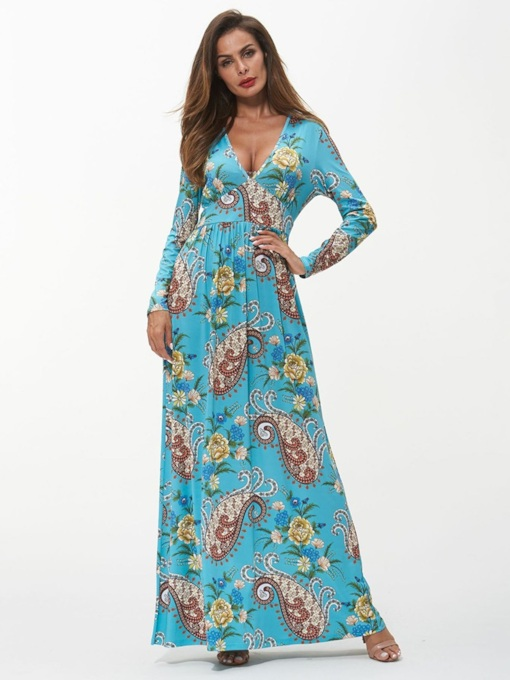 Long Sleeve Prints Travel Look Maxi Dress