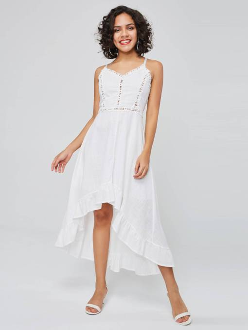 White Sleeveless High Waist A-Line Dress