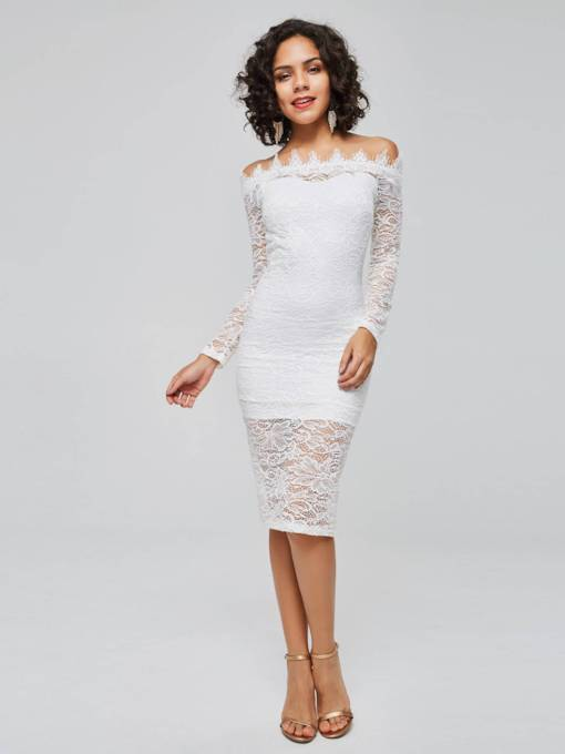 Off Shoulder Long Sleeve Elegant Bodycon Dress