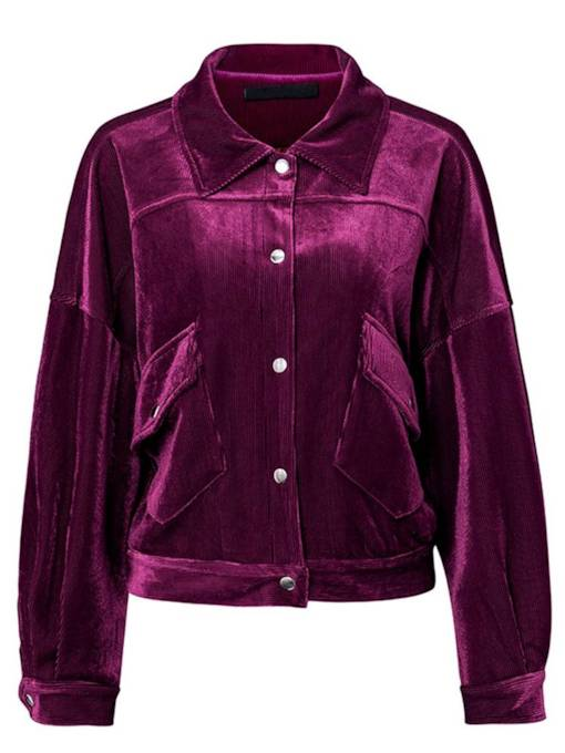Single-Breasted Lapel Dual Pocket Women's Jacket