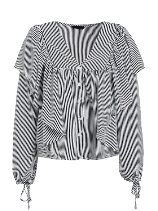 Plunge Neck Falbala Stripe Tie Sleeve Women's Blouse