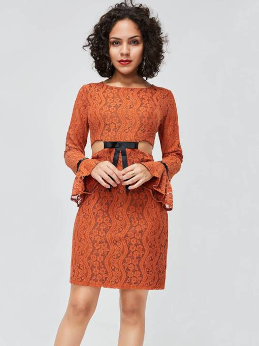 Flare Sleeve Round Neck Lace Dress