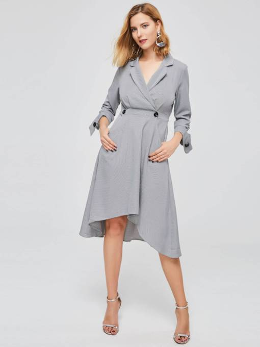 3/4Length Sleeve Button Shirt Dress