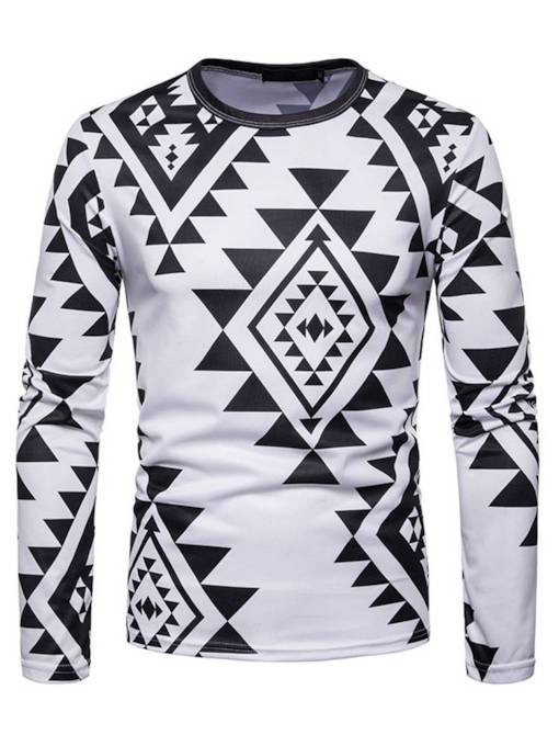 Black White Geometric Slim Men's T-Shirt