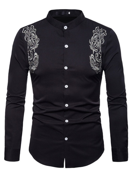 Stand Collar Embroidery Slim Men's Shirt