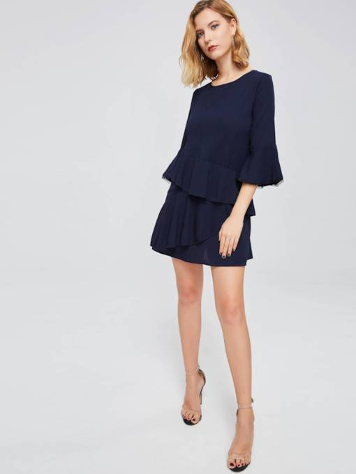 Dark Blue Bell Sleeve Women's Day Dress