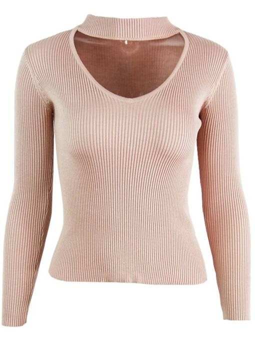 Solid Color Choker Hollow Out Women's Sweater