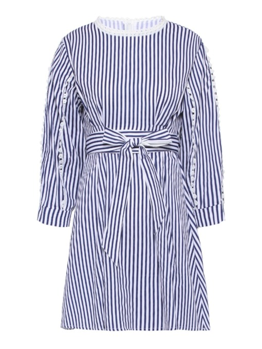 Round Neck Stripe Long Sleeve Day Dress