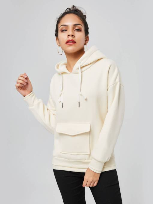 Plain Solid Color Wide Pocket Women's Hoodie