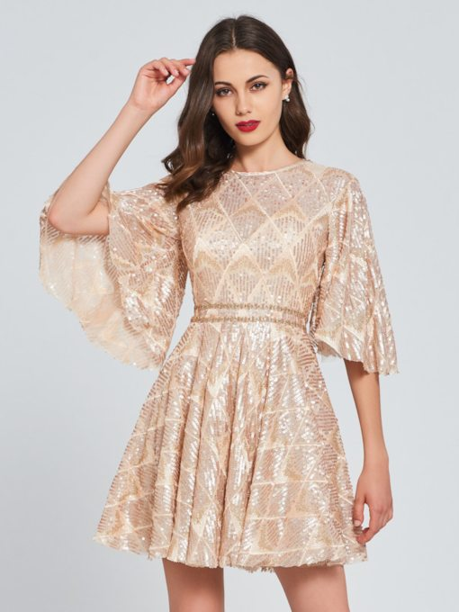 A-Line Scoop Lace Button Sequins Homecoming Dress