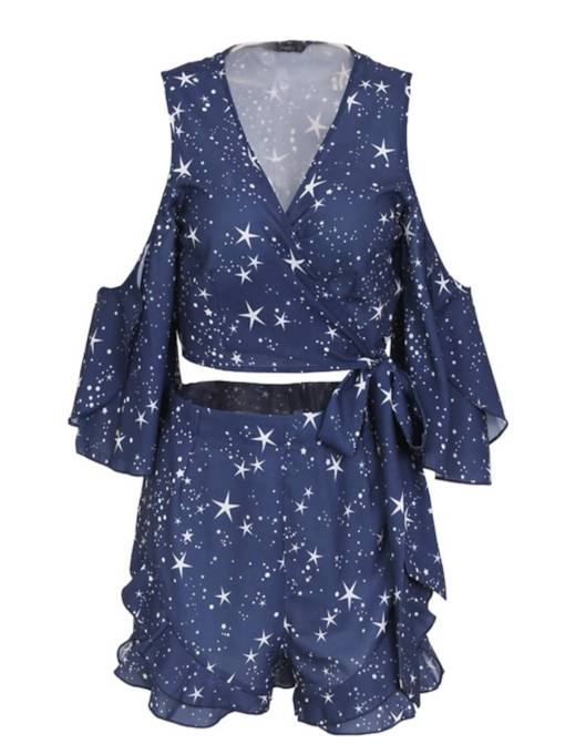 Star Off Shoulder Top and Shorts Women's Two Piece Set