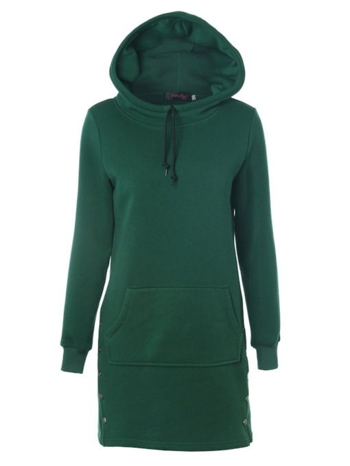 Plain Mid Length Wide Pocket Solid Color Women's Hoodie