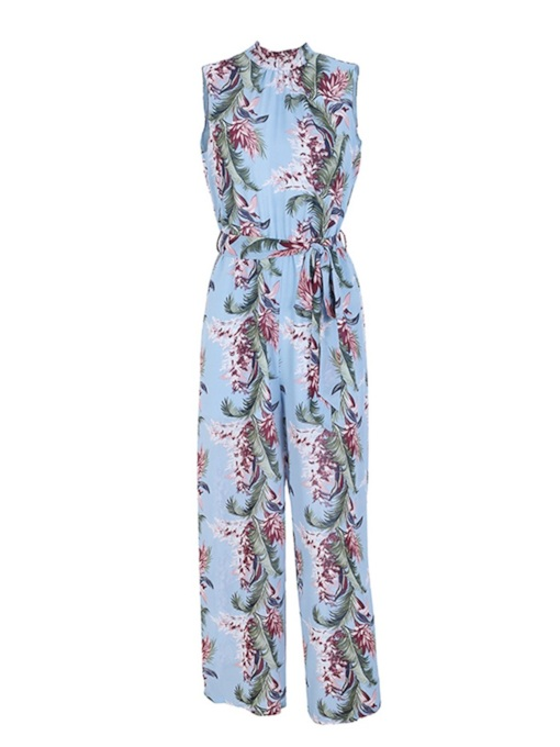 Floral Print Sleeveless Backless Lace-Up Women's Jumpsuit