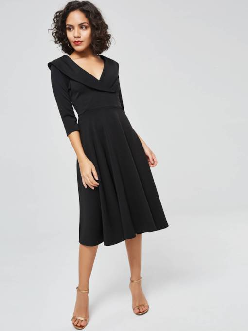 Half Sleeve V-Neck Women's Day Dress