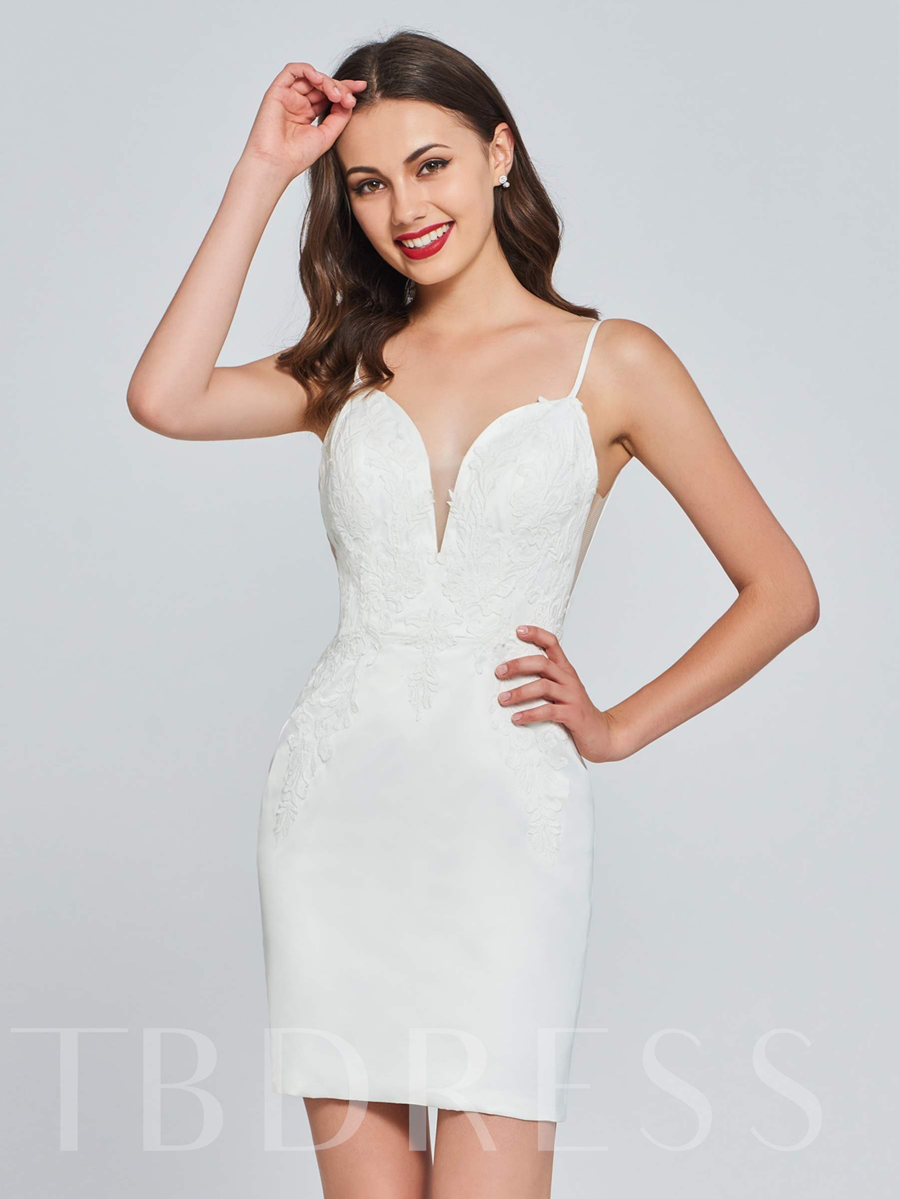 Sheath Spaghetti Straps Appliques Homecoming Dress, Spring,Summer,Fall,Winter, 13382177