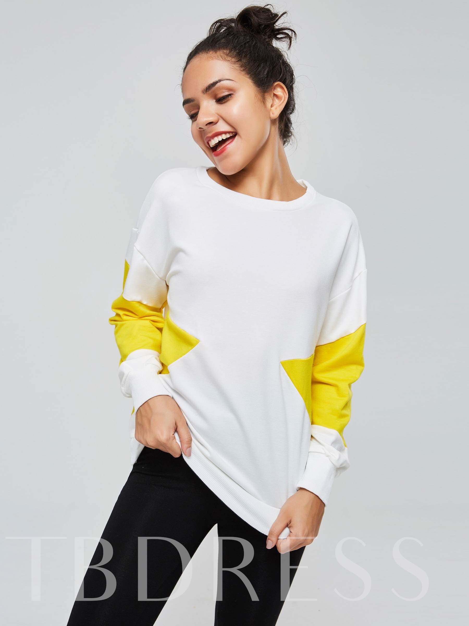 Buy Color Block Long Sleeve Women's Sweatshirt, Fall,Winter, 13382436 for $12.87 in TBDress store