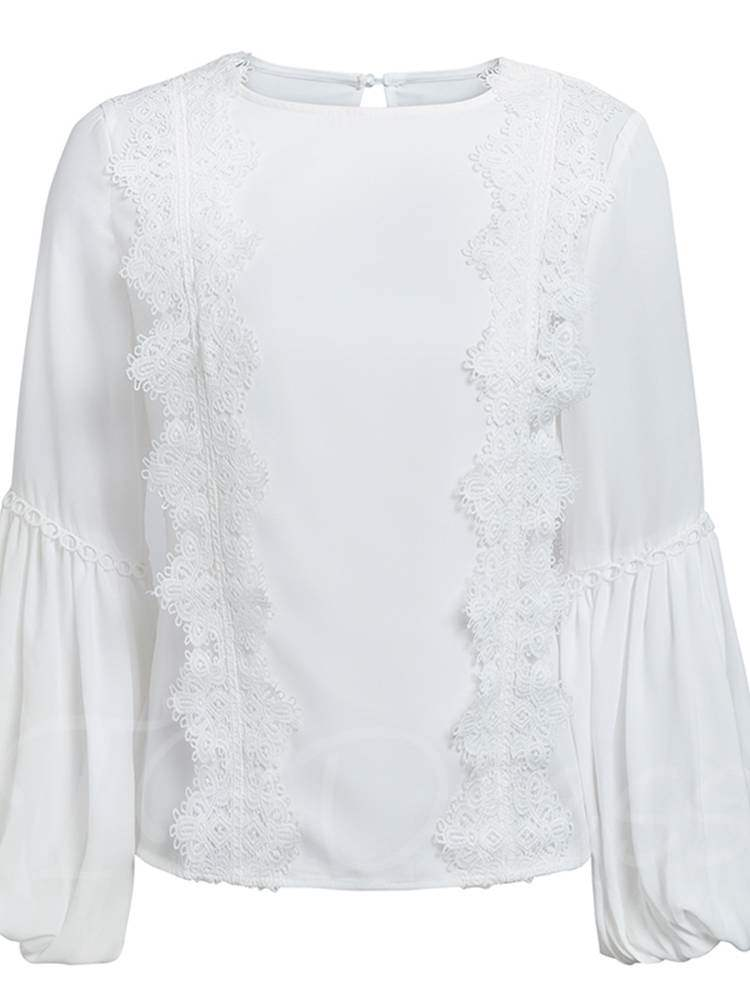 Buy Elegant Frilled Lantern Sleeve Scoop Neck Women's Blouse, Spring,Fall, 13382787 for $18.75 in TBDress store