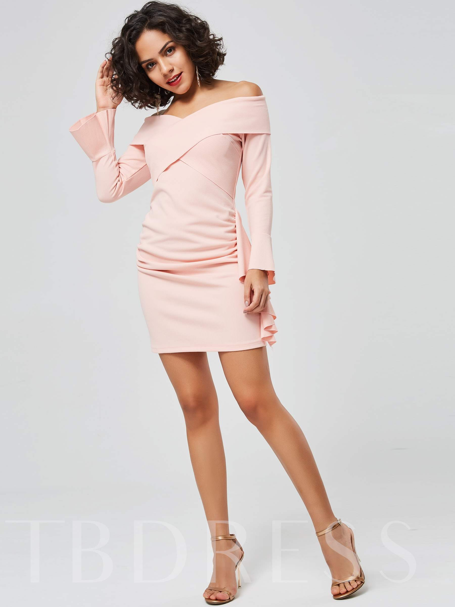 Buy Off Shoulder Flare Sleeve Bodycon Dress, Spring,Summer,Fall, 13383993 for $19.89 in TBDress store
