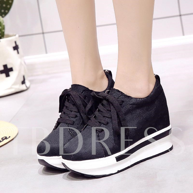 Buy Round Toe Lace-Up Elevated Platform Chic Women's Sneaker, Spring,Summer,Fall, 13383726 for $32.58 in TBDress store