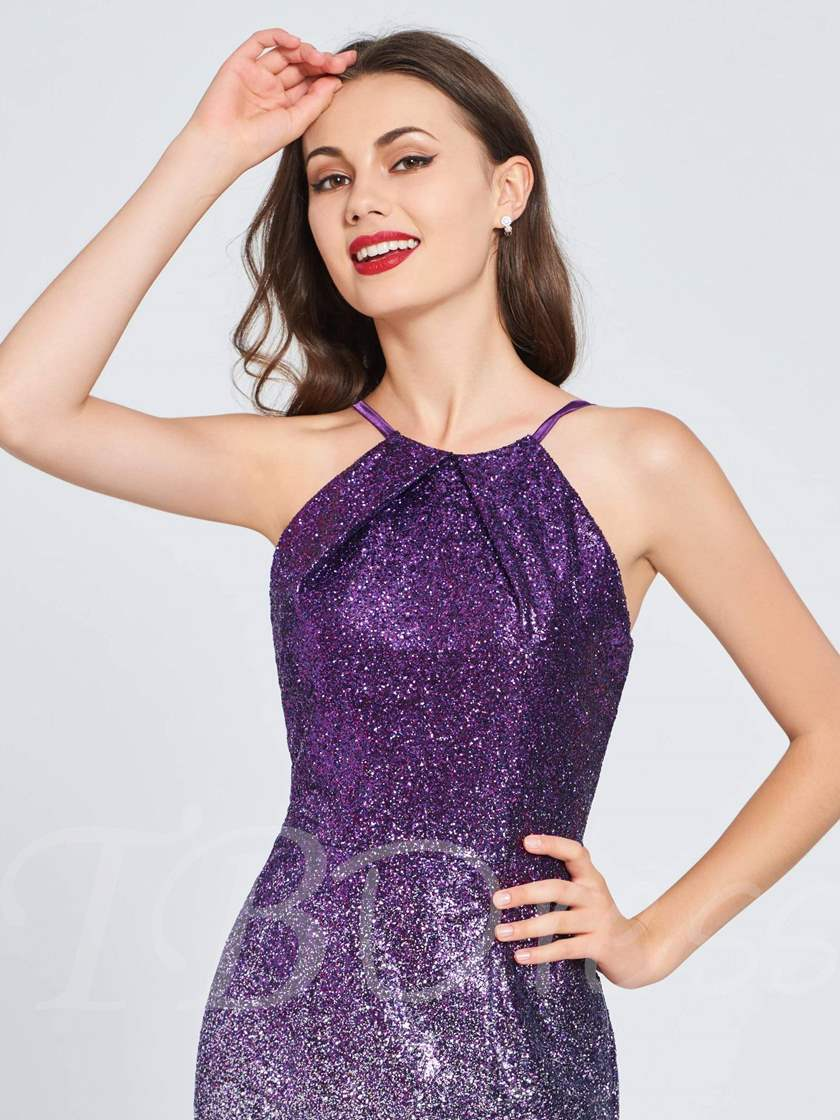 Sheath Sequins Spaghetti Straps Homecoming Dress
