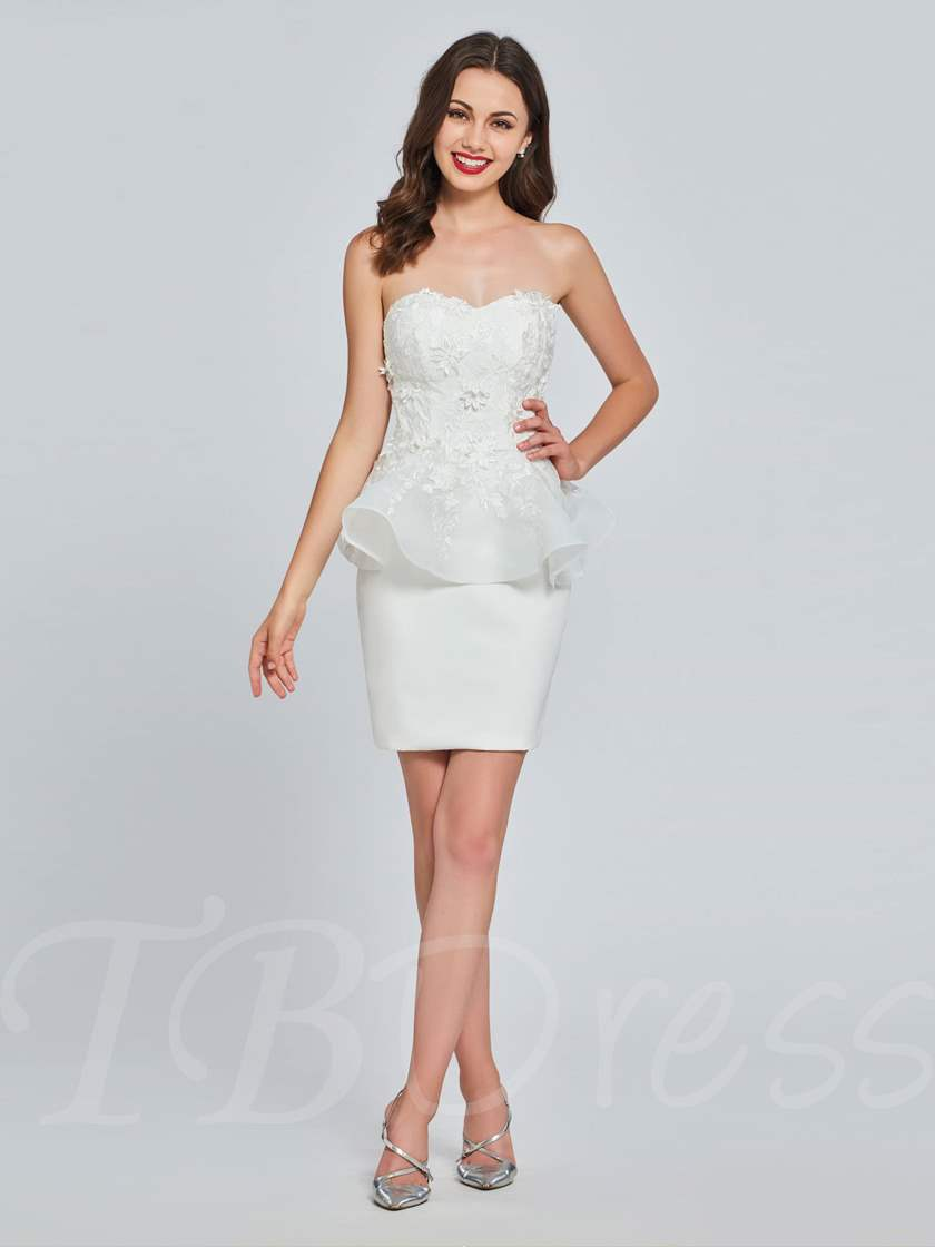 Sheath Sweetheart Appliques Mini Homecoming Dress