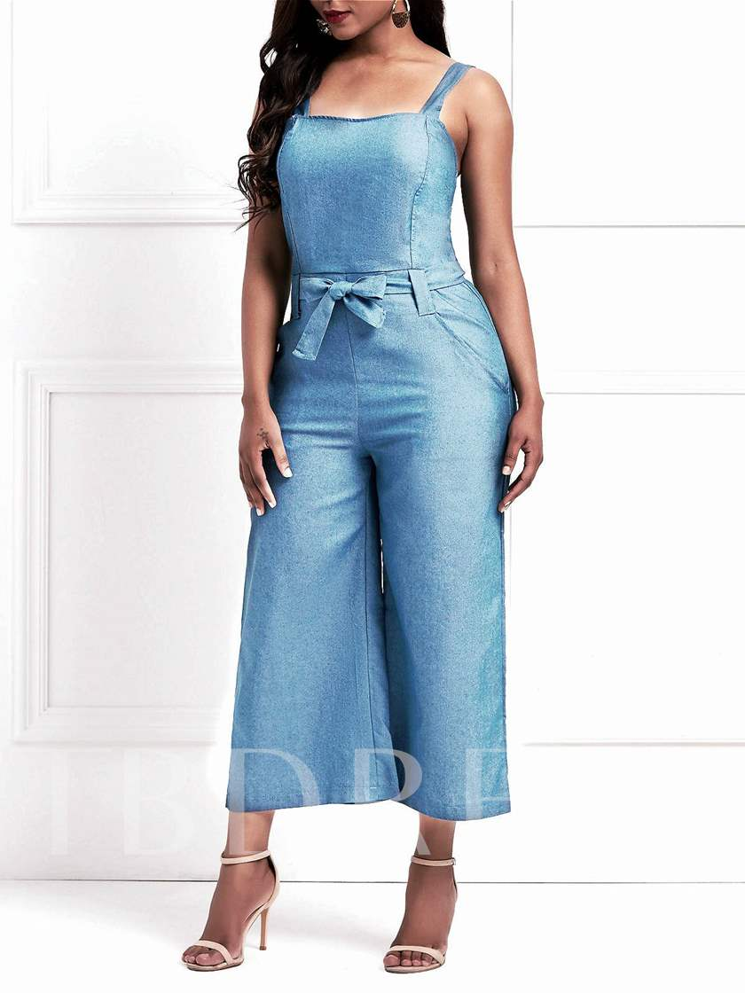 Denim Tie Waist Cami Women's Jumpsuit
